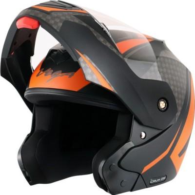 VEGA Crux Dx Checks Dull Black Orange Helmet-L Motorbike Helmet(Dull Black Orange)