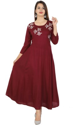 Hand Block Print Women Embroidered Straight Kurta(Maroon)