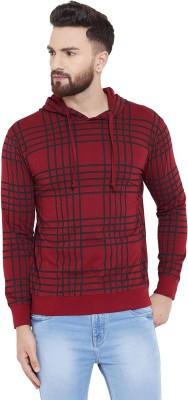 Fenoix Striped Men Hooded Neck Maroon T-Shirt