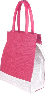 Foonty  6008  Daily Use Jute Lunch Bag Red, 12 L Foonty Handbags   Clutches