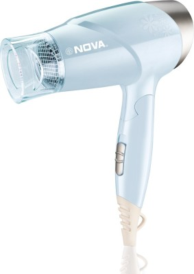 Nova Premium Silky Shine Hot And Cold Foldable NHP 8203 Hair Dryer(1400 W, Blue)