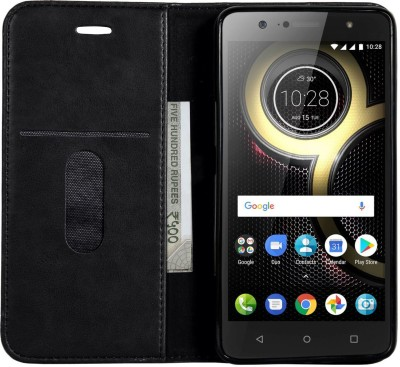 Zouk Book Cover for Lenovo K8 Plus(Black, Magnetic Case)