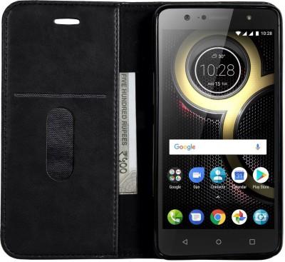DOB Book Cover for Lenovo K8 Plus(Black, Magnetic Case)