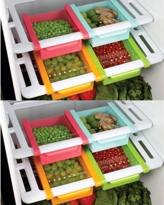 2Mech MultipurposeFridge Space Slide Storage Rack  - 750 ml Plastic Fridge Container(Pack of 8, Multicolor)