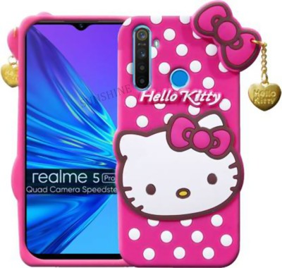 Sunshine Back Cover for Realme 5 Pro(Cute 3D Hello Kitty Soft Case With Shockproof Protection ?Pink?, Grip Case)