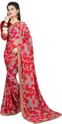 KAVIRA SAREES Printed Fashion Cotton Linen Blend Saree Multicolor