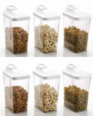 2Mech 2Mech Cereal Dispenser Easy flow storage jar 1700ml 6pc set ,airtight Plastic pluses Storage Ideal for Kitchen Grocery Storage Box lid Food Rice Pasta Container(Pack of 6)  - 1700 ml Plastic Grocery Container(Pack of 6, Clear)