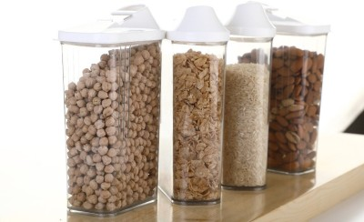 2Mech 2Mech Cereal Dispenser Easy flow storage jar 1700ml 4pc set ,airtight Plastic pluses Storage Ideal for Kitchen Grocery Storage Box lid Food Rice Pasta Container(Pack of 4)  - 1700 ml Plastic Grocery Container(Pack of 4, White)