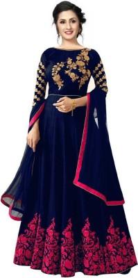 R4R FASHION Embroidered Semi Stitched Lehenga Choli(Blue, Pink)