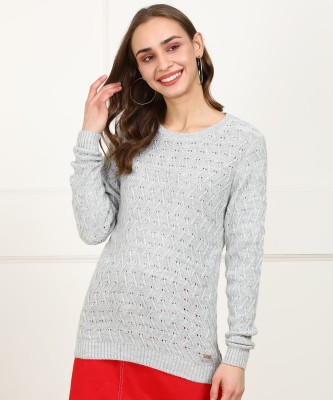Park Avenue Solid Round Neck Casual Women Grey Sweater