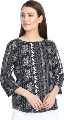 Aisa Fashion Casual 3/4 Sleeve Printed Women Multicolor Top