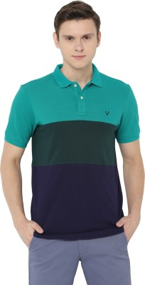 People Textured Men Polo Neck Multicolor T-Shirt