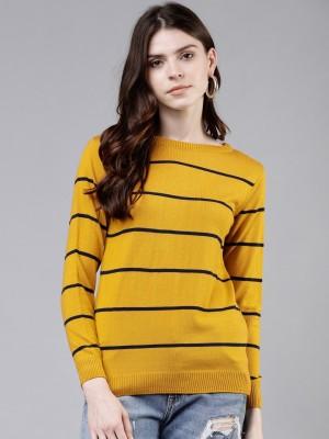 Tokyo Talkies Striped Round Neck Casual Women Yellow Sweater