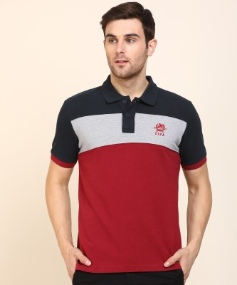U.s.Polo Association Color Block Men Polo Neck Blue, Grey, Maroon T-Shirt