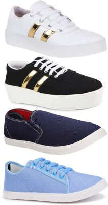 Bersache Combo pack of 4 casual sneaker loafer shoe for women. Sneakers For Women(Multicolor)