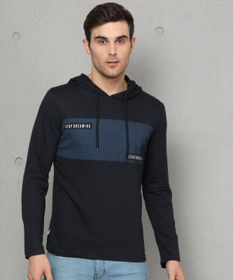 Metronaut Printed Men Hooded Neck Dark Blue T-Shirt