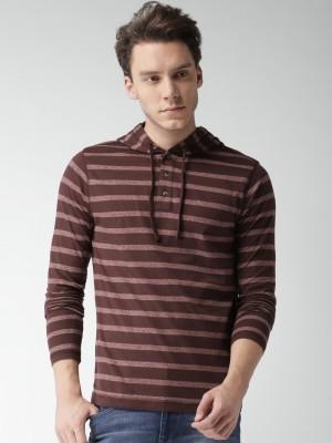 Aeropostale Striped Men Hooded Neck Maroon T-Shirt