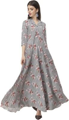 Rudraaksha Women Maxi Grey Dress