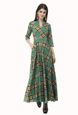 Rudraaksha Women Maxi Green Dress