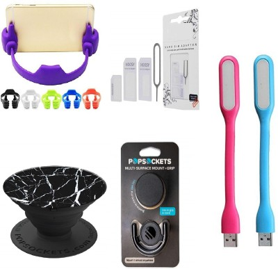 A 1 Top Mobile Holder Accessory Combo for All SmartPhone(Multicolor)