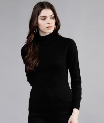 Tokyo Talkies Solid Turtle Neck Casual Women Black Sweater