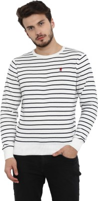 Red Tape Striped Round Neck Casual Men White Sweater