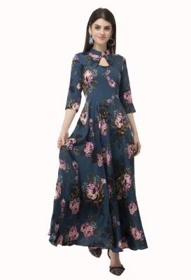 Rudraaksha Women Fit and Flare Blue Dress