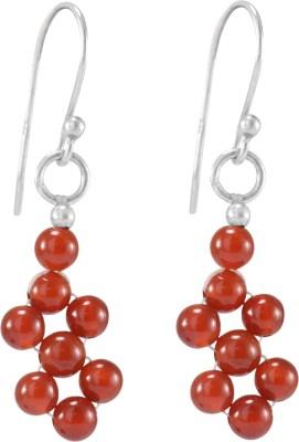 Silvesto India Carnelian  Trendy Jewelry  Beaded Dangle Earring Carnelian Sterling Silver Drops   Danglers Silvesto India Earrings