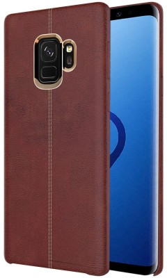 TGK Back Cover for Samsung Galaxy S9 (Double Stitch Shell with Metallic Logo Display Vorson Leather Case)(Brown, Shock Proof)