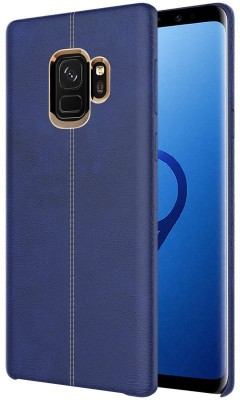 TGK Back Cover for Samsung Galaxy S9 (Double Stitch Shell with Metallic Logo Display Vorson Leather Case)(Blue, Shock Proof)