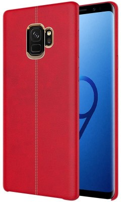 TGK Back Cover for Samsung Galaxy S9 (Double Stitch Shell with Metallic Logo Display Vorson Leather Case)(Red, Shock Proof)