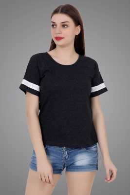 Fabstone Collection Solid Women Round Neck Grey T Shirt
