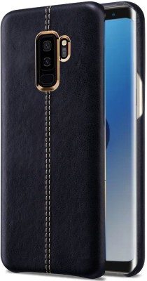 TGK Back Cover for Samsung Galaxy S9 Plus (+) Double Stitch Shell with Metallic Logo Display Vorson Leather Case(Black, Shock Proof)