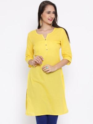 Aurelia Women Solid Kurta Yellow