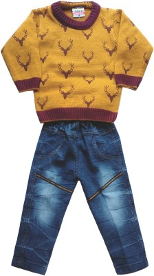 JASKARAN Boys Party(Festive) Sweater Jeans(Brown)