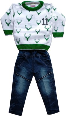 JASKARAN Boys Party(Festive) Sweater Jeans(White)