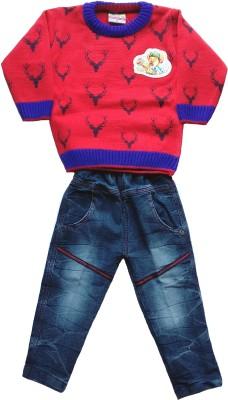JASKARAN Boys Party(Festive) Sweater Jeans(Red)