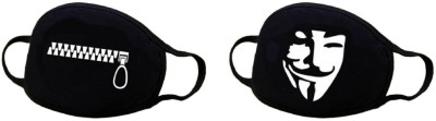 Vritraz Pollution Half Face Mask for Man Woman Bigzip V Anti-pollution Mask(Black, Pack of 2)