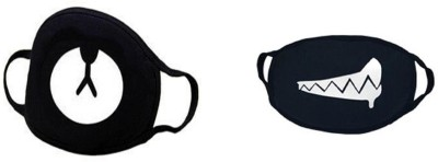 Vritraz Pollution Half Face Mask for Man Woman Bear Drooling Anti-pollution Mask(Black, Pack of 2)
