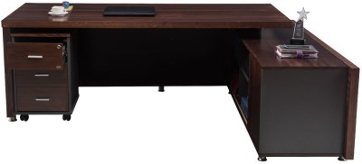 Durian Adroit Brown Engineered Wood Office Table(Free Standing, Finish Color - Walnut)