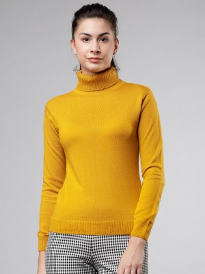 Tokyo Talkies Solid Turtle Neck Casual Women Yellow Sweater