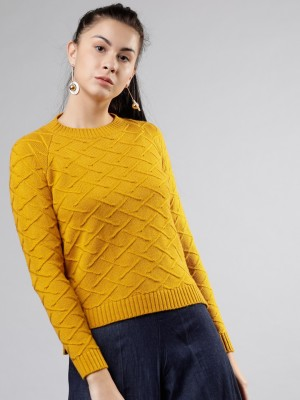 Tokyo Talkies Solid Round Neck Casual Women Yellow Sweater
