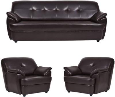 Modern Sofa Collection Leatherette 3 + 1 + 1 Brown Sofa Set