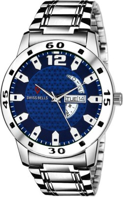 Swiss Bells SB-010 Imported multicolor Dial Silver Stainless Steel Strap Day & Date Working Wrist Analog Watch  - For Men