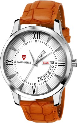 Swiss Bells SB-001 Imported White Dial Brown Genuine Leather Strap Day & Date Working Wrist Analog Watch  - For Men