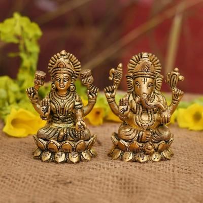 Collectible India Brass Laxmi Ganesh Set Idol Showpiece - Gold Lakshmi Ganesha Decorative Showpiece  -  10 cm(Brass, Gold)