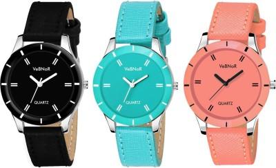 VeBNoR Black, Orange and Skyblue Colour Watch Combo Analog Watch  - For Women