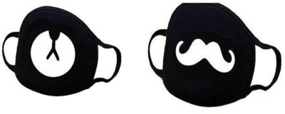 Vritraz Anti Dust, Pollution Mask for Man Woman Bear Mustache Anti-pollution Mask(Black, Pack of 2)