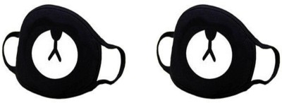Vritraz Anti Dust, Pollution Mask for Man Woman Bear Anti-pollution Mask(Black, Pack of 2)