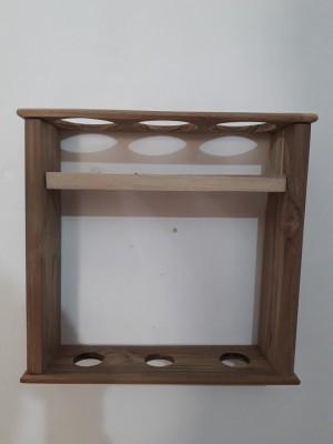 PeachCherry Classic Wine Bottle holder Wooden Wall Shelf(Number of Shelves - 1, Brown)